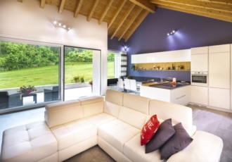 casa-in-legno-xlam-tetto-a-vista-interno-sala